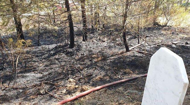 Mezarlıkta Çıkan Yangın Söndürüldü